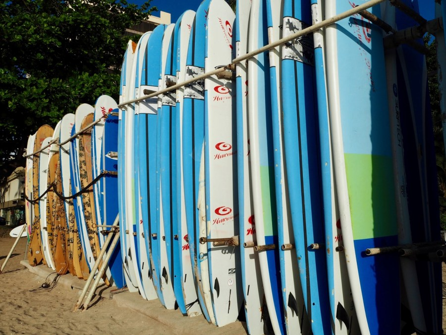 Many boards on Waikiki Beach.