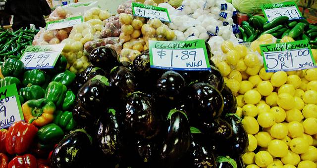 Fresh veggies at the Paddy's market.