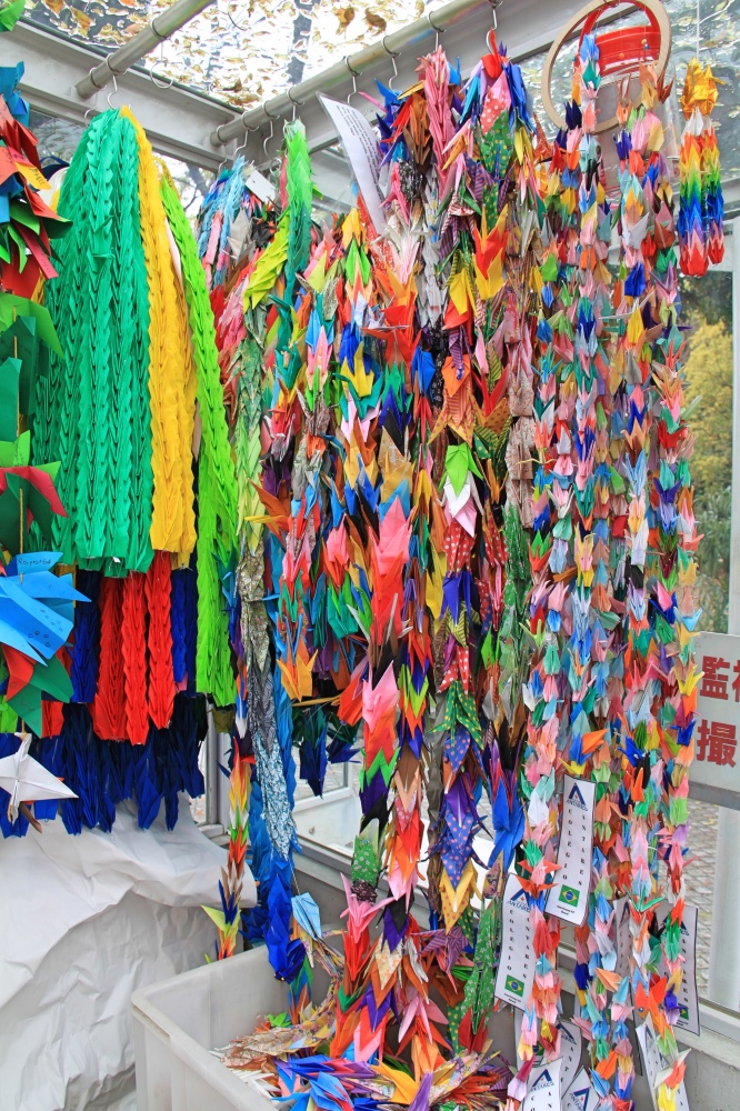 Lots of paper cranes at the Children's Peace Monument.