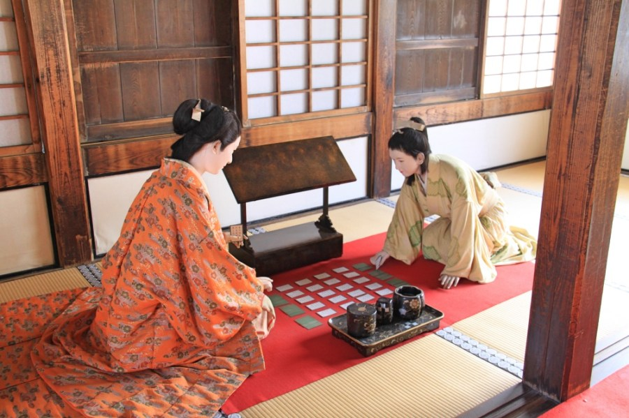 A recreation of the traditional tea ceremony inside the Main Keep.