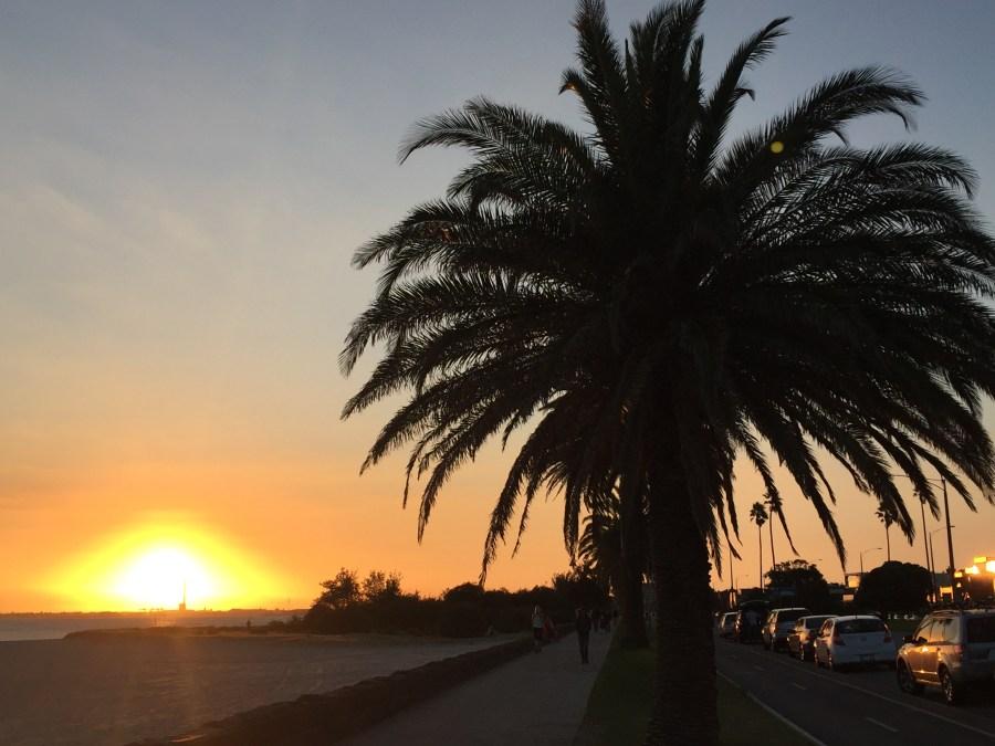 Sunset on St Kilda Beach.