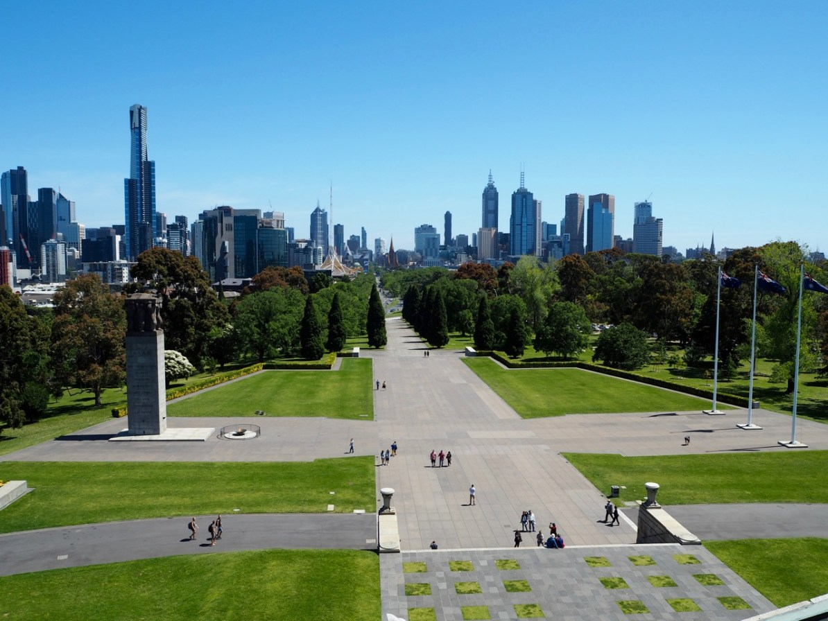 The awesome view of the CBD from the balcony of the Shrine of Remembrance.