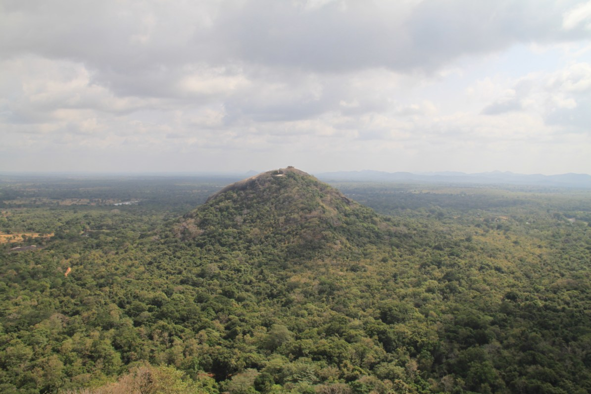 View of Pidurangala Rock from the top of Sigiriya. We really wish we had time to hike this one too!
