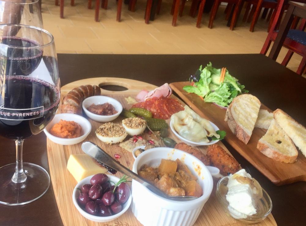 Our platter at Cafe Blue.
