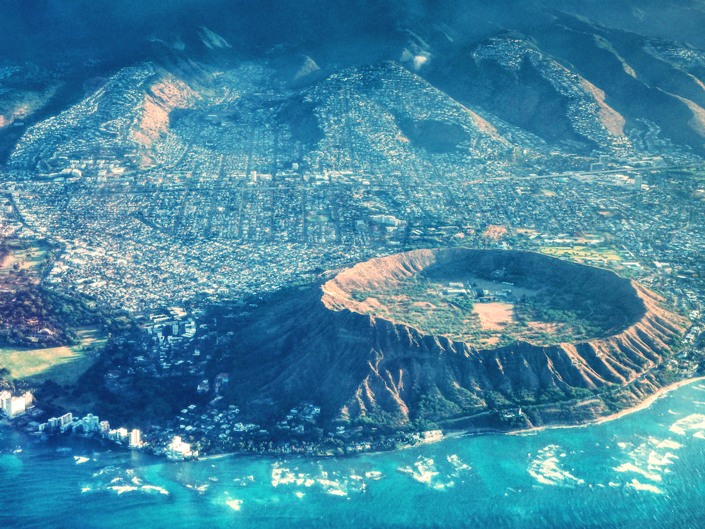 The Diamond Head Crater from the air.