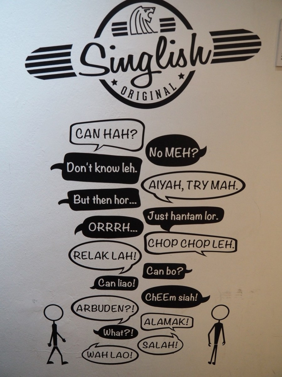 Some Singlish drawn on the wall.