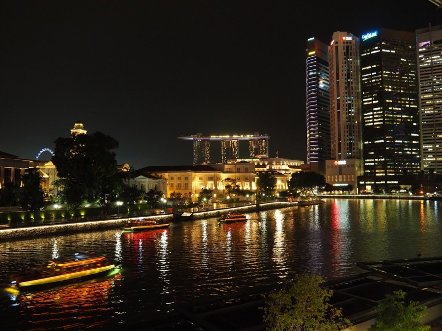 The view at night time from Project Boat Quay.