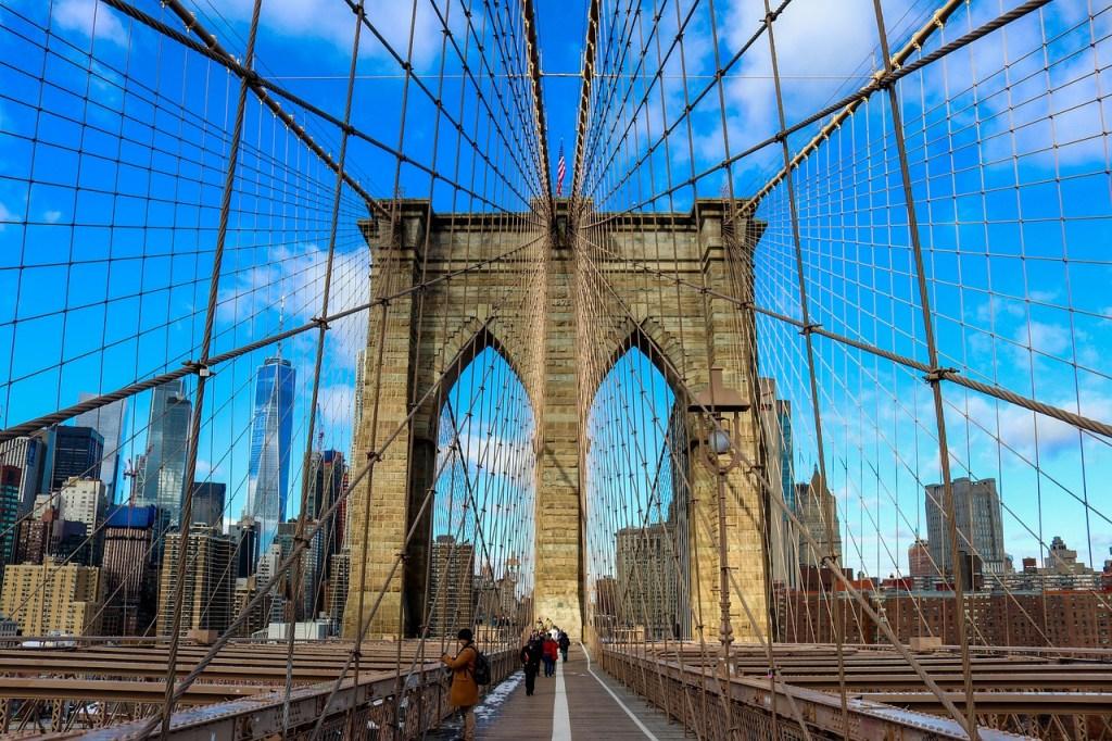 Looking along the Brooklyn Bridge in New York