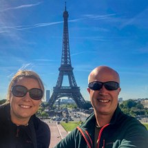 Simon and Cindy with Eiffel Tower in the background