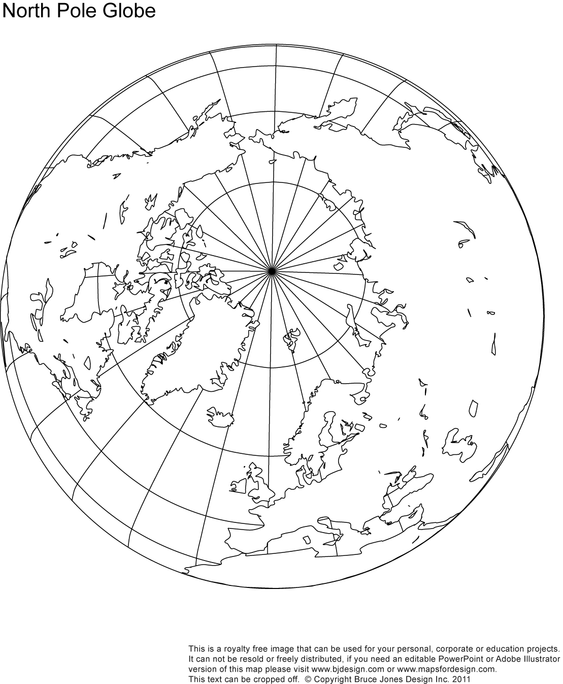 Printable Map North Pole Globe Sketch Coloring Page
