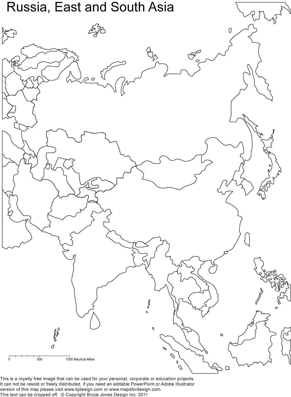 Printable Blank Map Asia