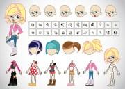 free girl cartoons vector art &