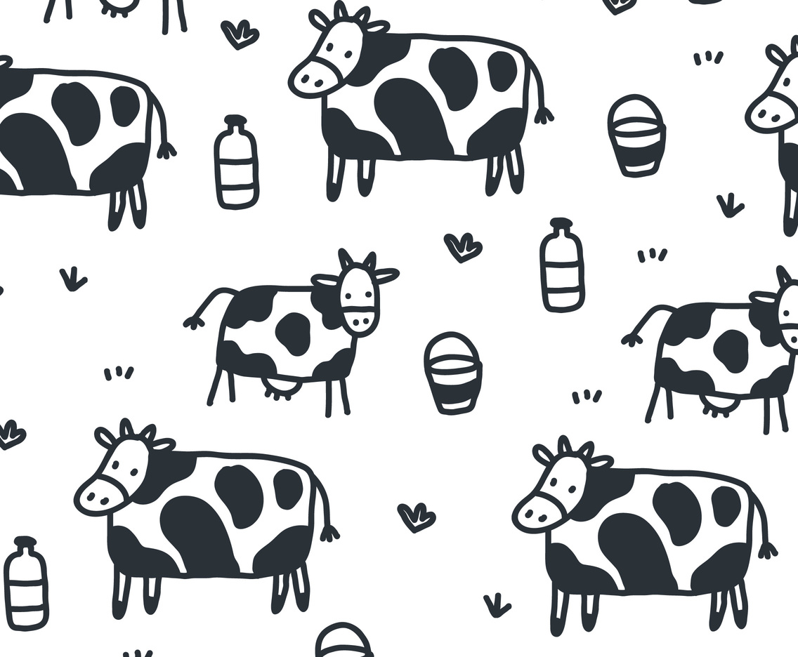 Cartoon Cow Pattern Vector Vector Art Amp Graphics
