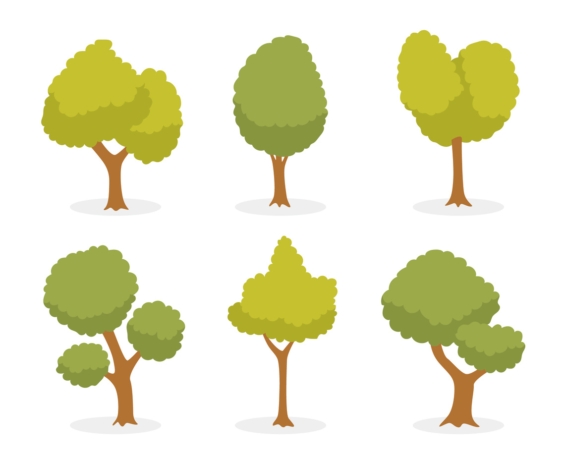cartoon green tree vector