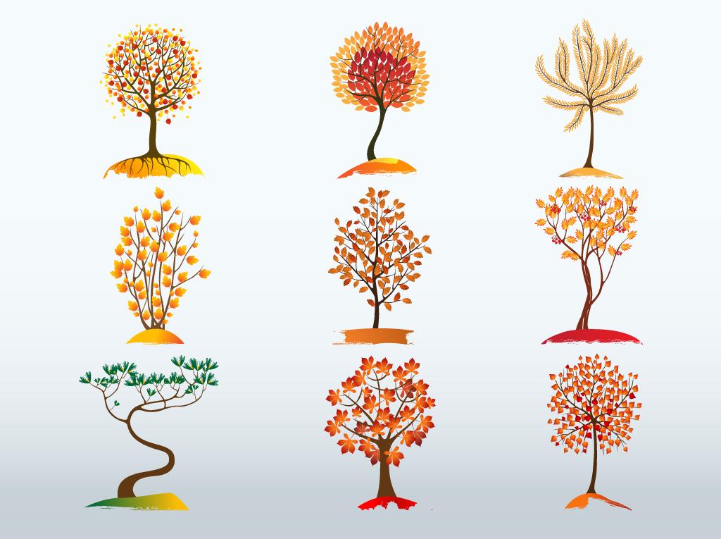 Fall Themed Wallpapers Cartoon Autumn Tree Vector Bundle Vector Art Amp Graphics
