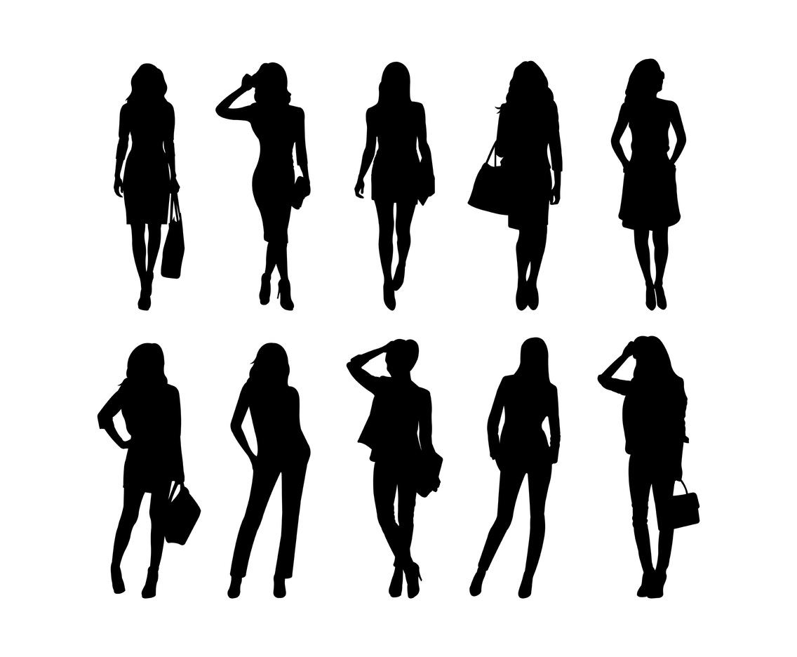 Set Of Woman Silhouettes Vector Vector Art & Graphics