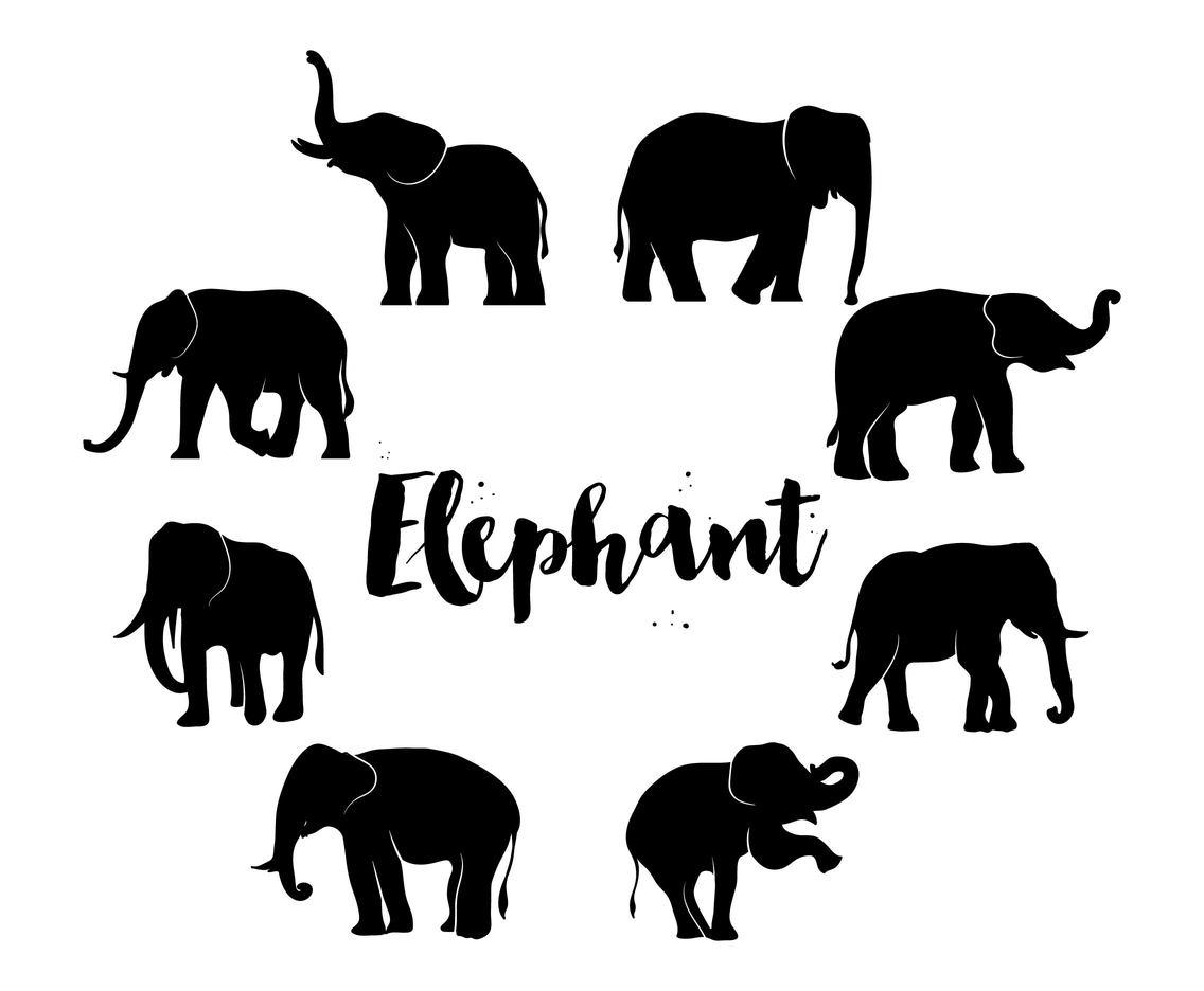 Free Elephant Silhouette Set Vector Art Amp Graphics