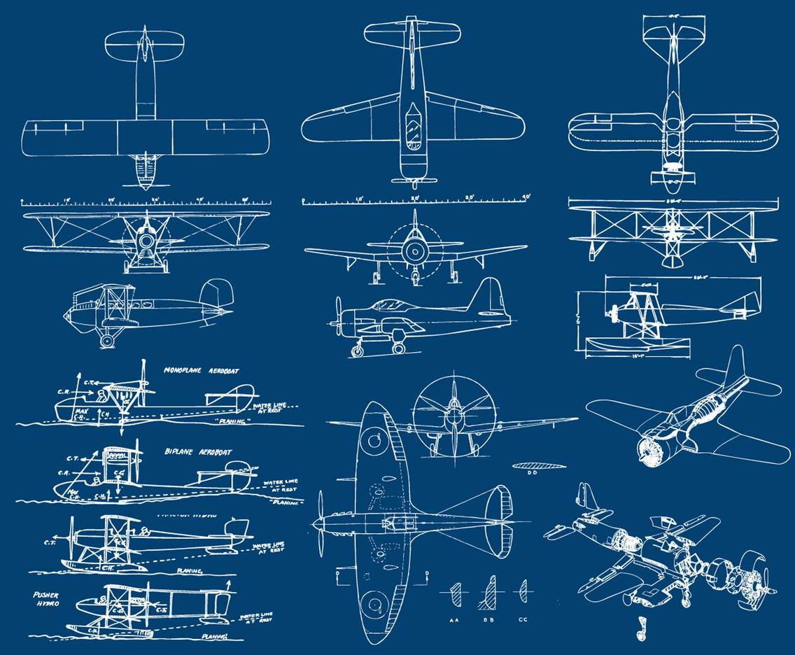 hight resolution of airplanes blueprint