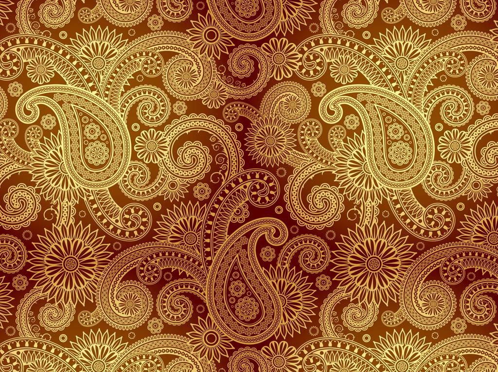 Golden Damask Pattern Vector Art & Graphics