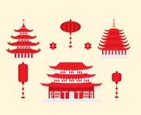 Red Chinese Pagoda And Lamp Vectors Vector Art & Graphics ...