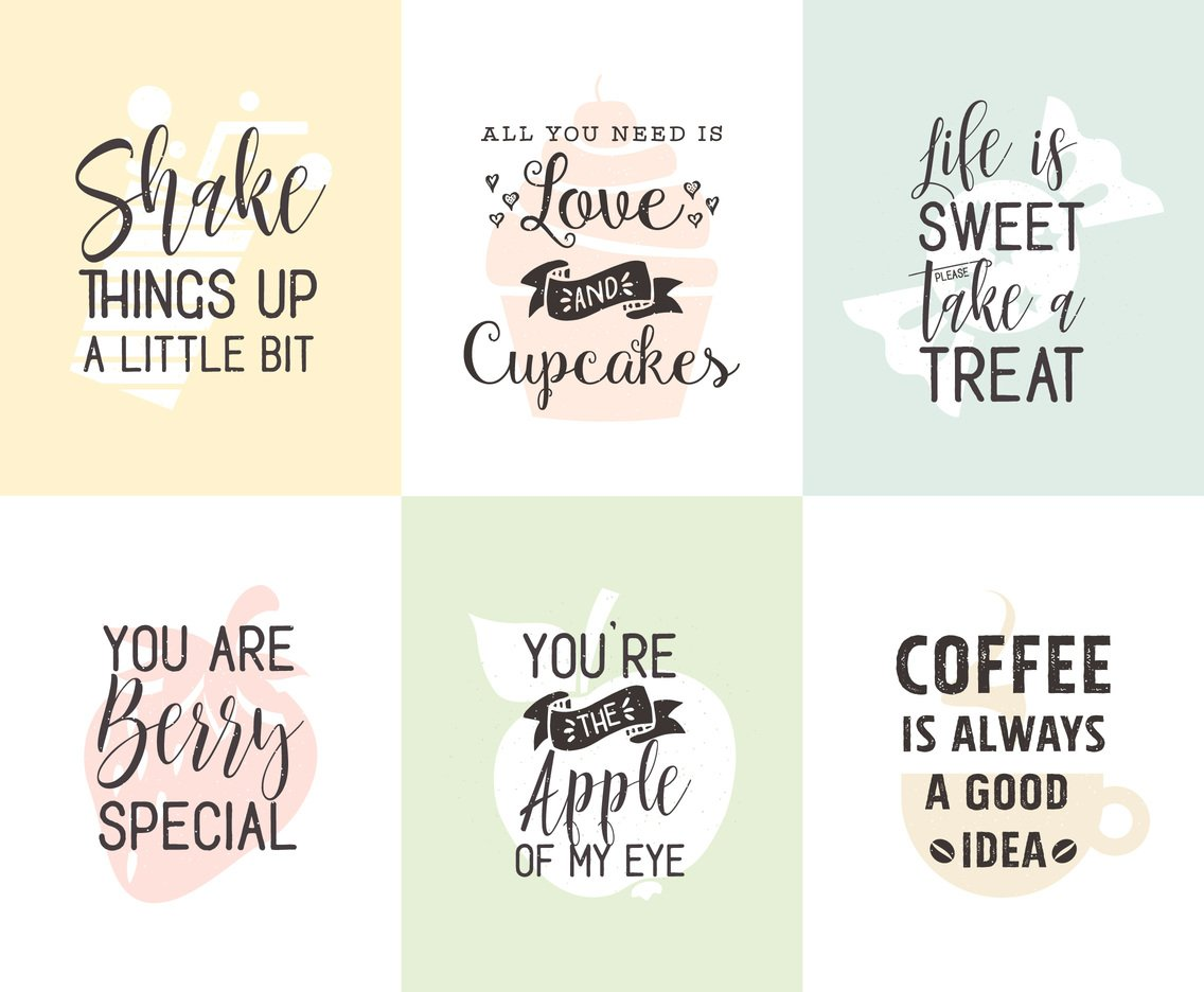 Download Food And Drinks Related Typography Quotes Posters Vector ...