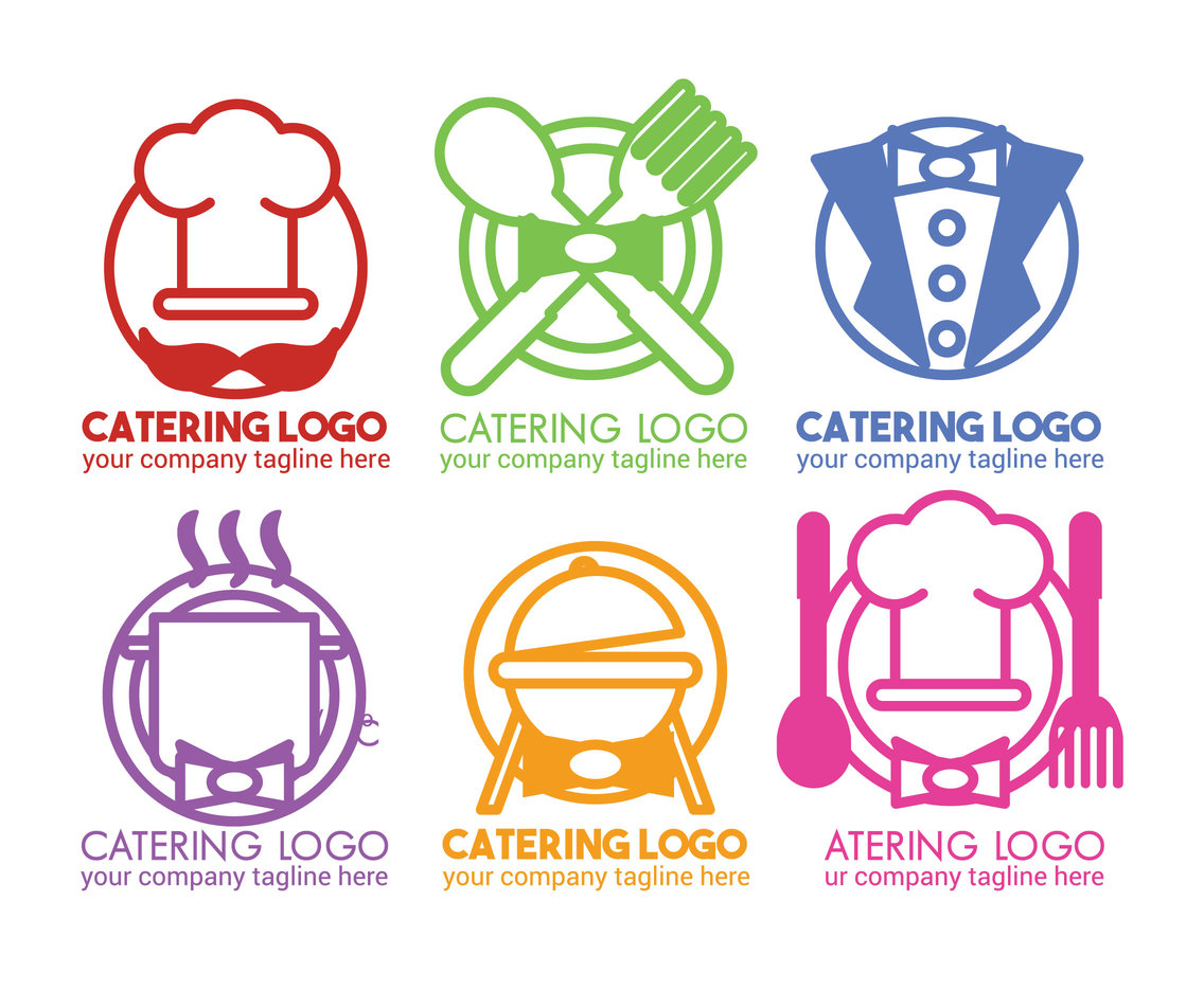 Catering Logo Design Template Set Vector Art Graphics Freevectorcom