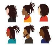 dreadlocks vector set art