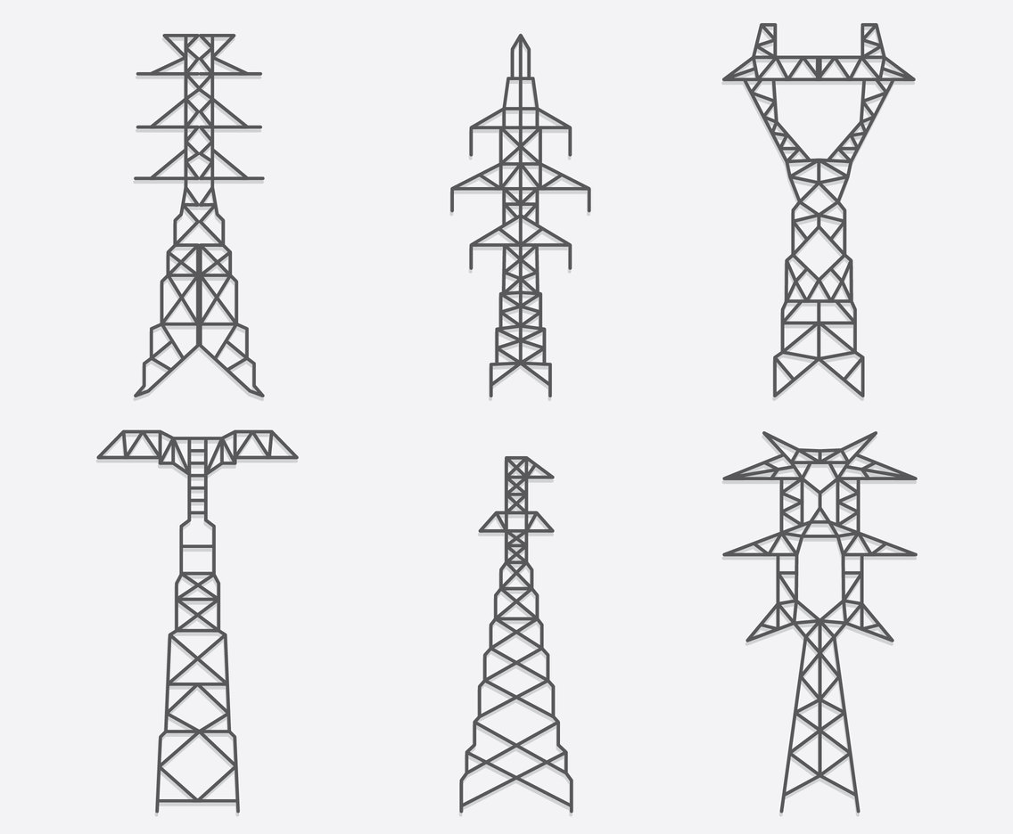 Electric Pylon Collection Vector Vector Art Amp Graphics