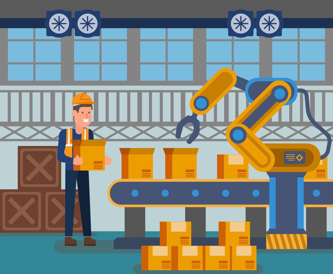 working in factory vector