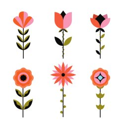 geometric flowers clipart vector [ 1136 x 936 Pixel ]