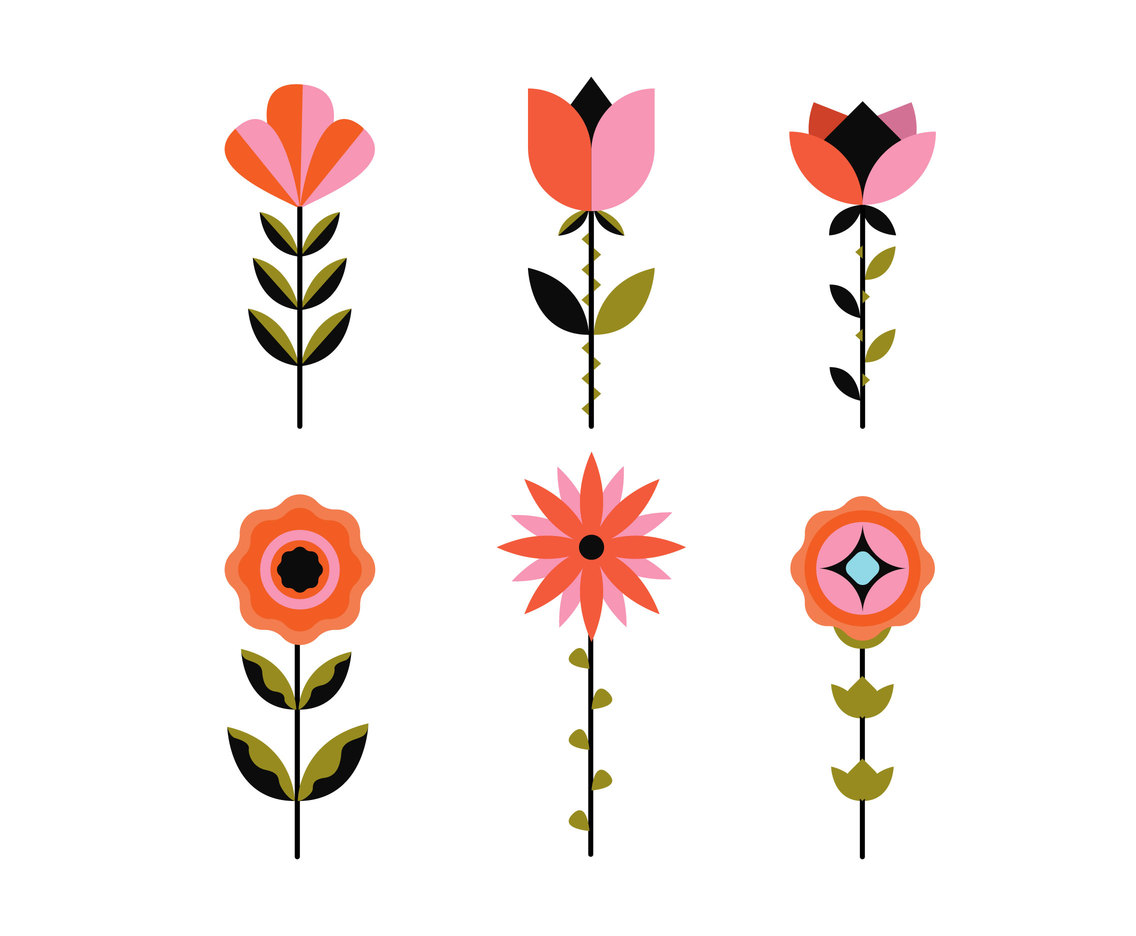 hight resolution of geometric flowers clipart vector