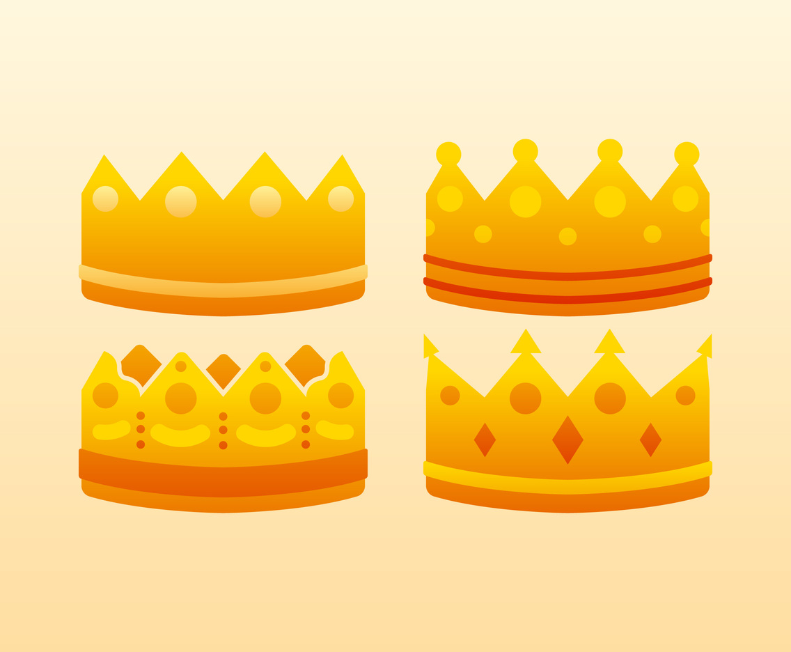 hight resolution of unique crown clipart set vectors