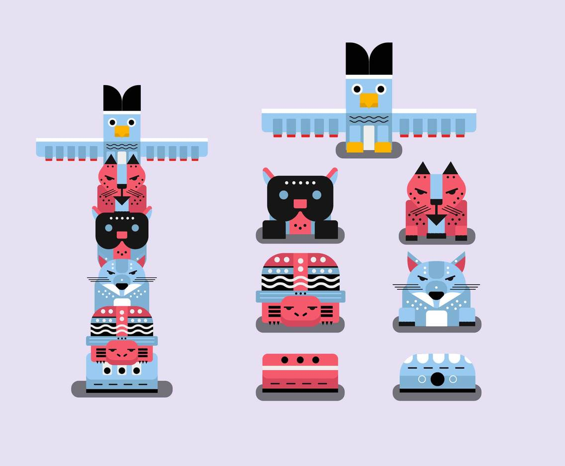 hight resolution of animal totem pole clipart vector