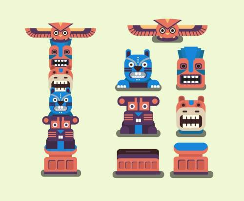 small resolution of totem pole clipart element vector