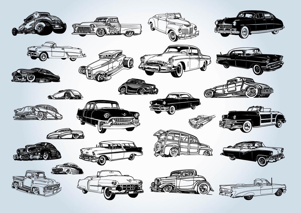 vintage cars vectors vector
