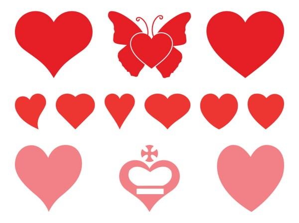 romantic hearts set vector art