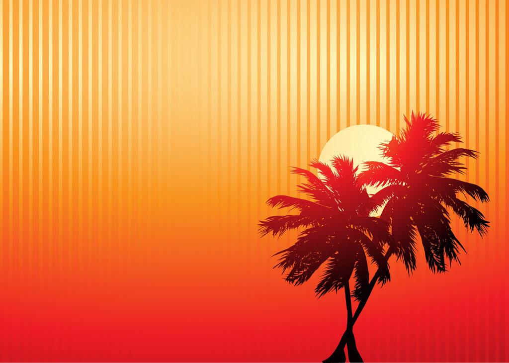 Free Fall Themed Desktop Wallpaper Palm Trees Sunset Vector Art Amp Graphics Freevector Com