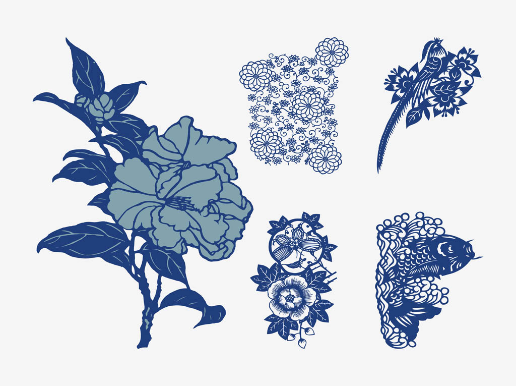 japanese vector flowers vector