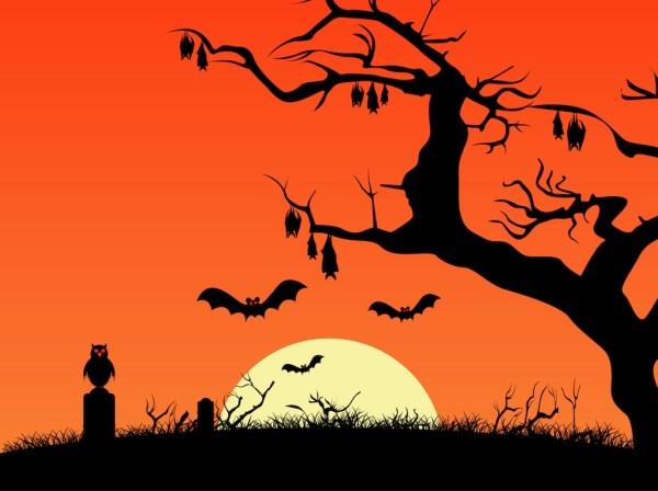 creepy halloween night vector art