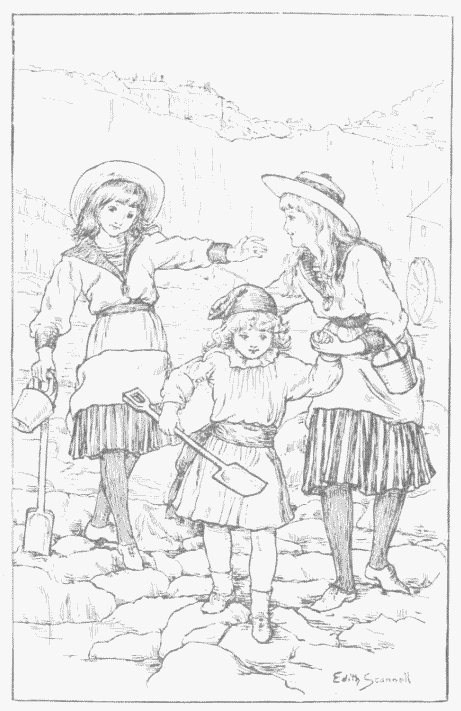 Visiting the Beach, a vintage coloring page