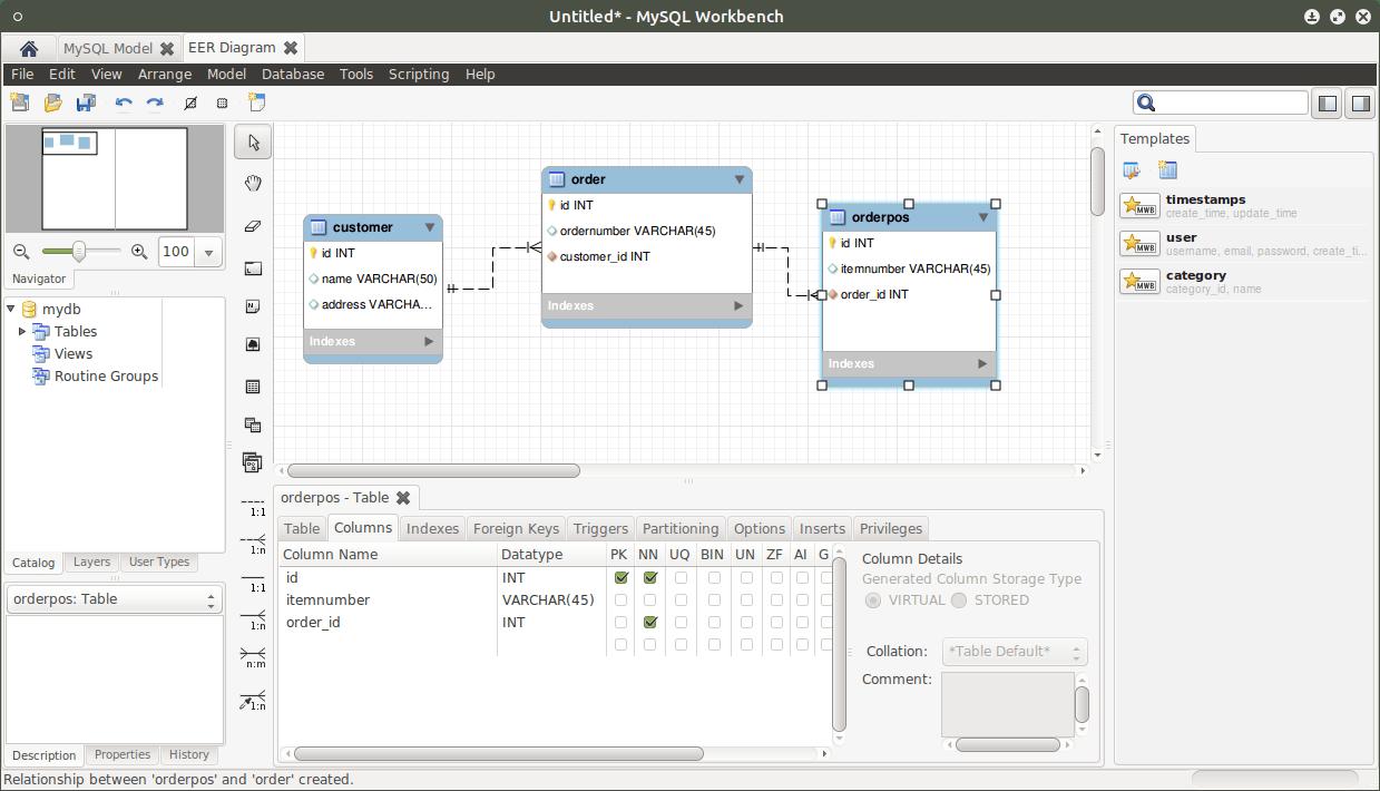 Tool zum Datenbankmodell erstellen für MySQL MySQL Workbench