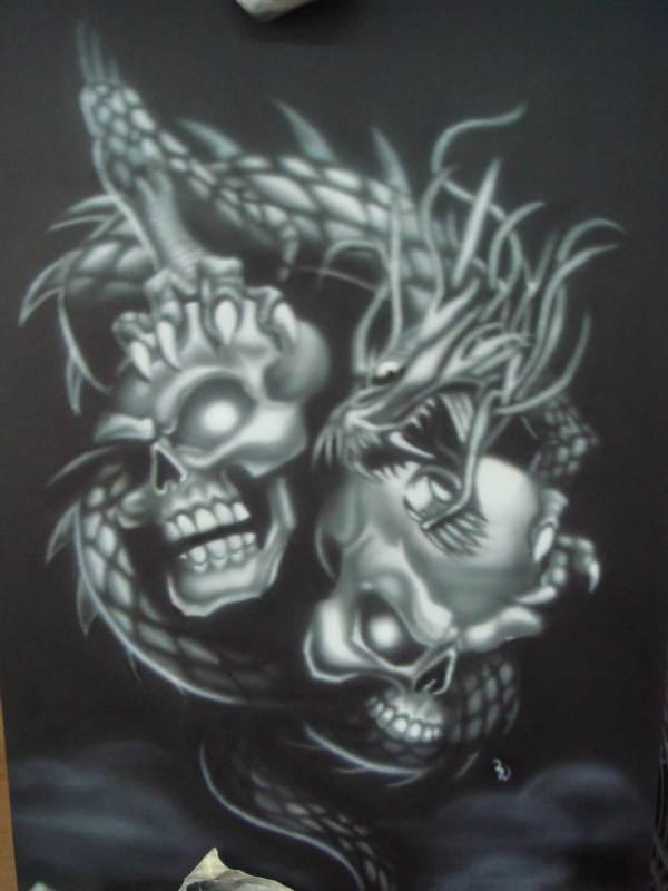 Dragon and Skull Airbrush Designs