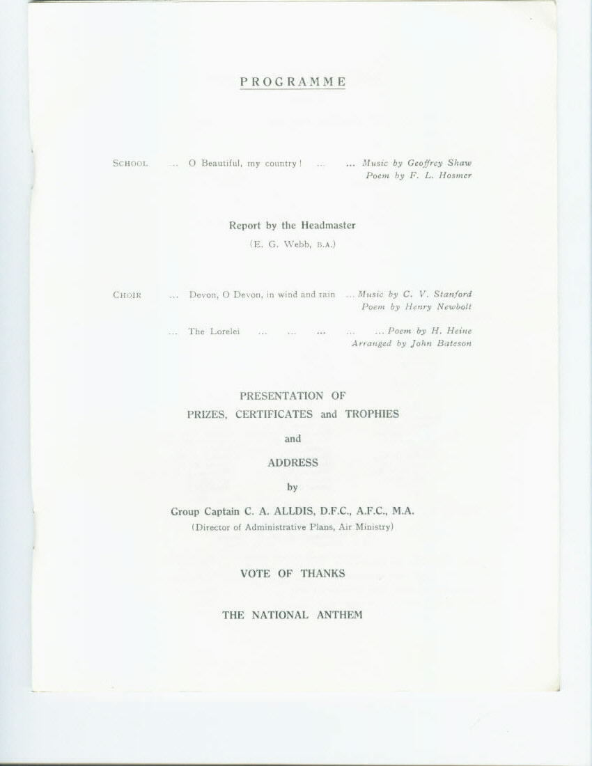Speech Day 1961: The following shows the full programme