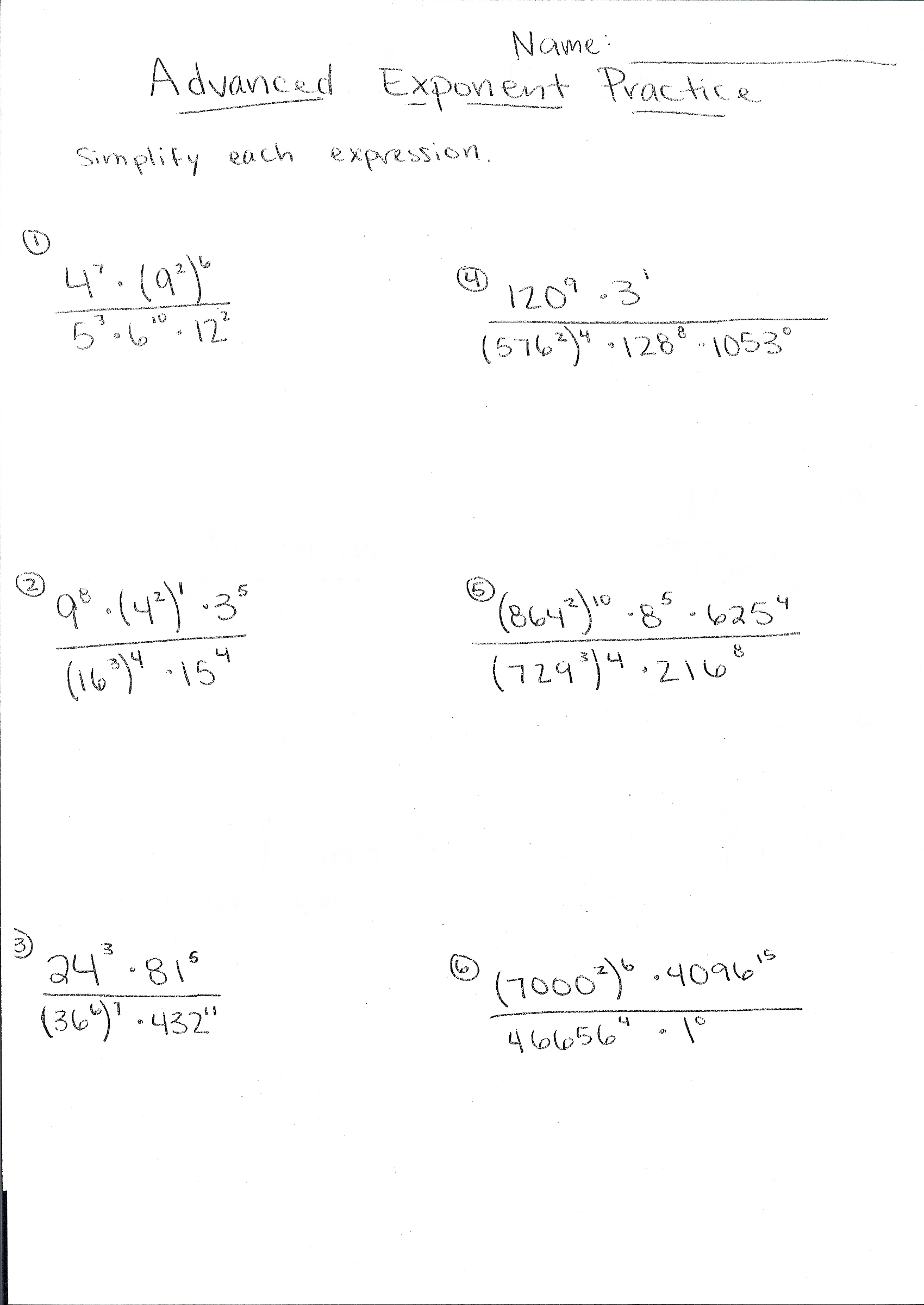 Practice Worksheet For Law Of Exponents Dividing