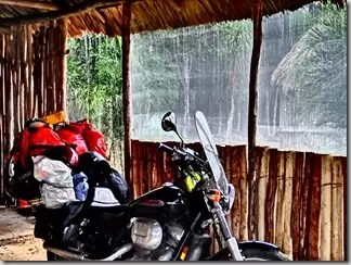 Motorcycling in the rain Mexico Tulum 1