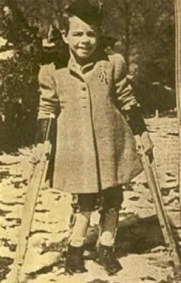 Karen Killilea walking with crutches