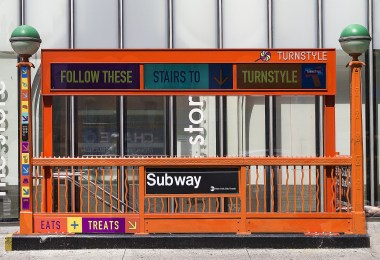 New York City subway entrance with no accessibility for people with disabilities.