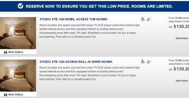 Wheelchair accessible hotel room reservation.