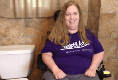 Karin Willison in bathroom talking about Medicaid.