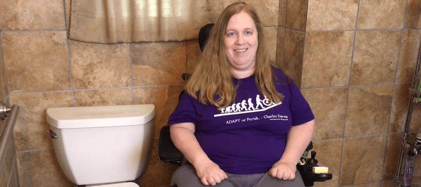 Karin Willison in bathroom talking about Medicaid.